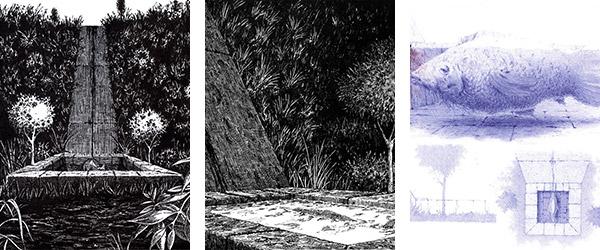fonte no vale, peixe na fonte, sangue no buxo#03, 2013, caneta sobre papel, 190mm x 200mm © Daniel Silvestre da Silva