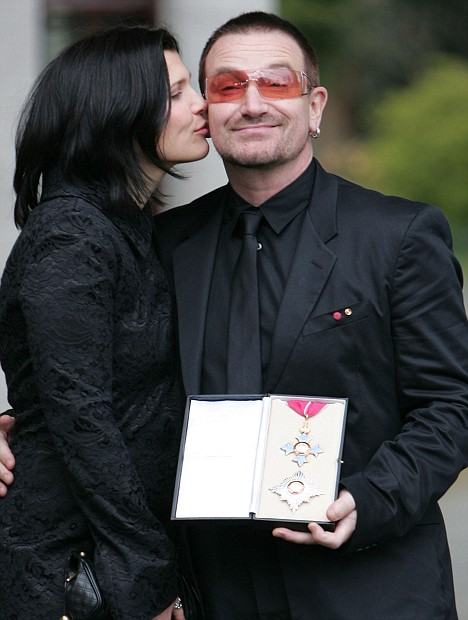 29/3/07 Sir Bono and his wife Ali at the British Ambassador's residence where he received an Honourary Knighthood awarded to him by Her Majesty the Queen in recognition of his services to the music industry and his humanitarian work. Picture:Arthur Carron/Collins