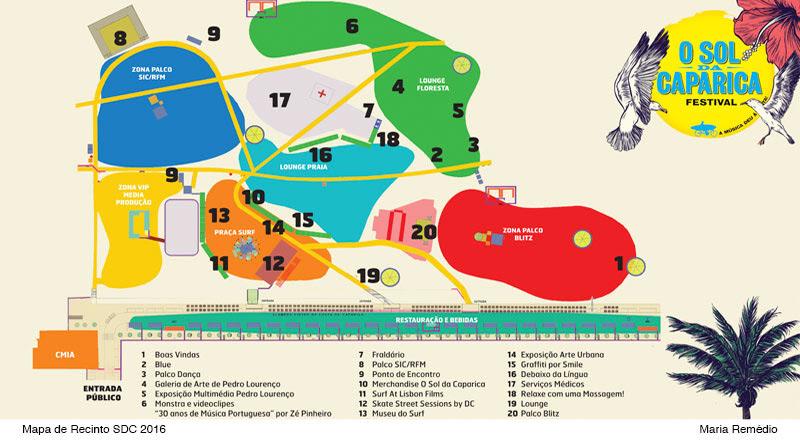 Sol da Caparica 2016 - Mapa do recinto