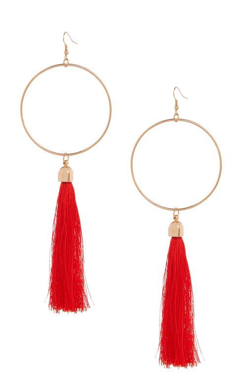 Tassle Hoop Drop Earrings ú3 E4