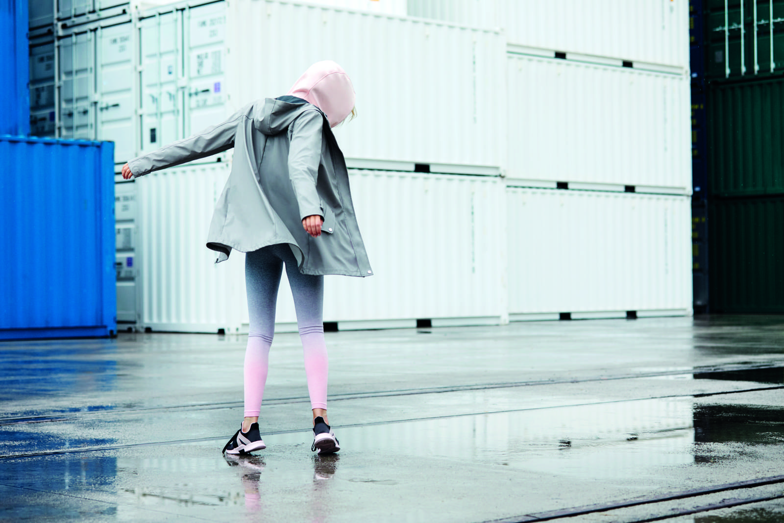 Grey Raincoat E19 $23, Slogan Scuba Sweat E14 $16, Ombre Leggings, E11 $13, Lace Up Black Tariners E16 $18 (2)